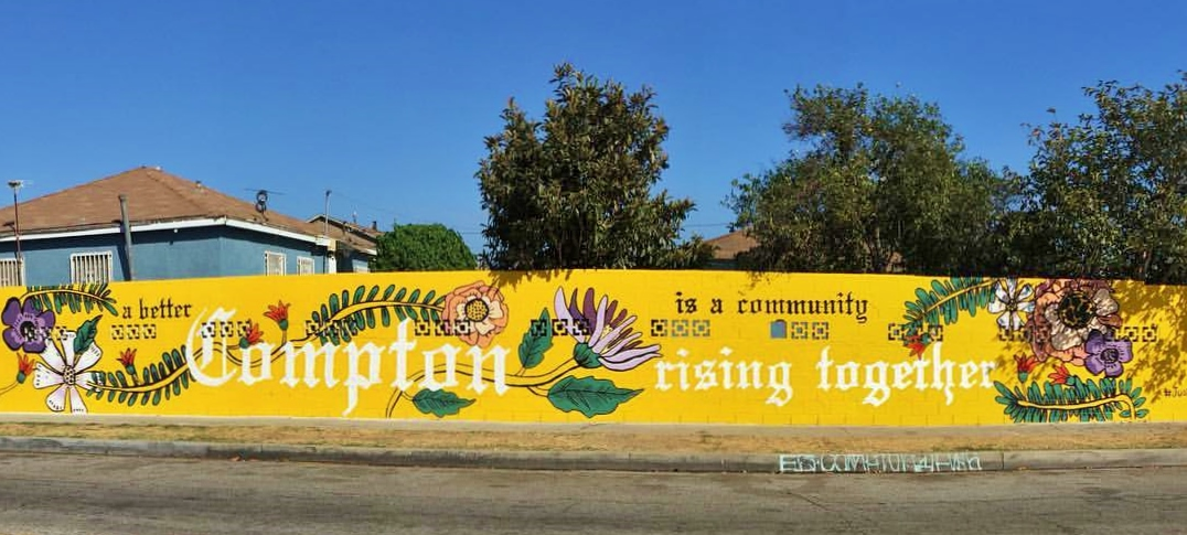 Compton Initiative commissioned as set of three murals that were created in collaboration with volunteers from the Compton community in spaces targeted by gang graffiti. Since the completion of the murals, the amount of graffiti has been reduced significantly.
