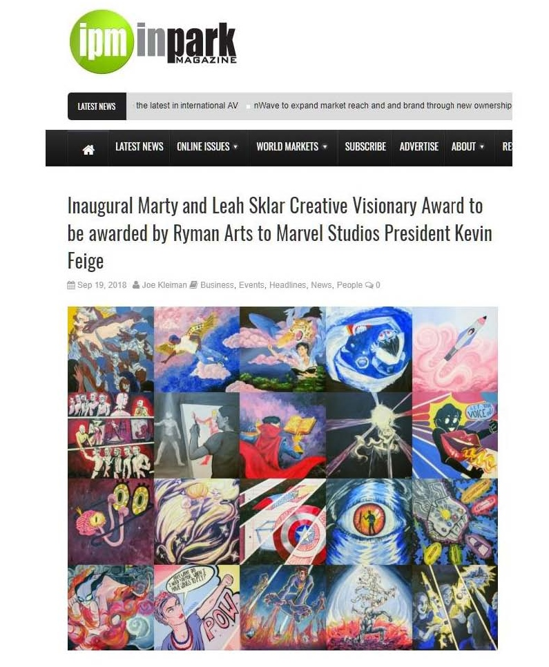 InPark Magazine: Inaugural Marty and Leah Sklar Creative Visionary Award to be awarded by Ryman Arts to Marvel Studios President Kevin Feige