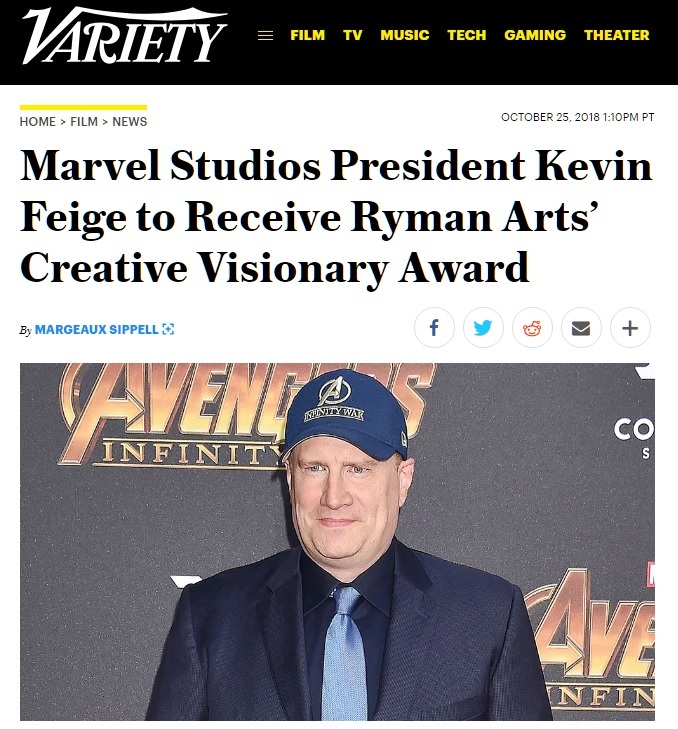Variety: Marvel Studios President Kevin Feige to Receive Ryman Arts' Creative Visionary Award