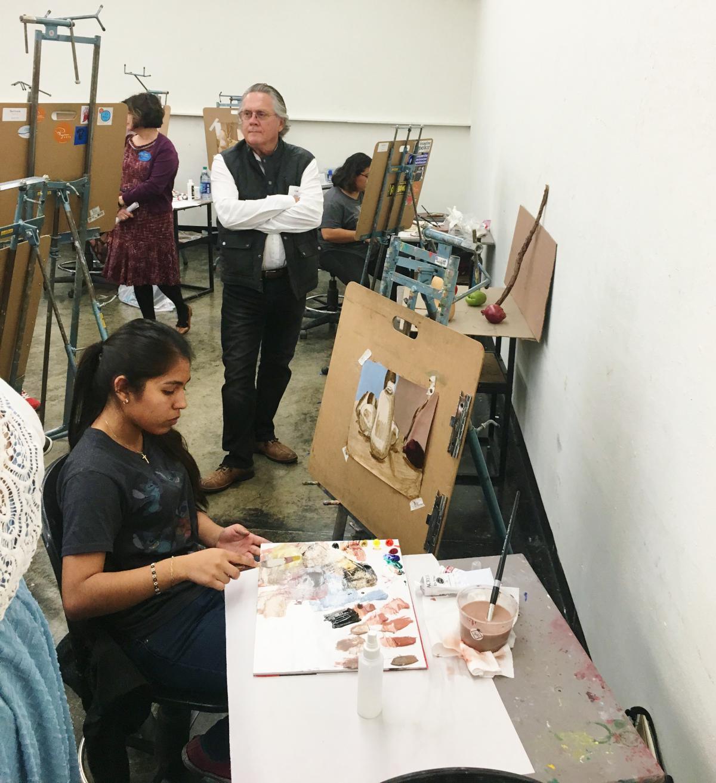 David observing Ryman Arts students in class