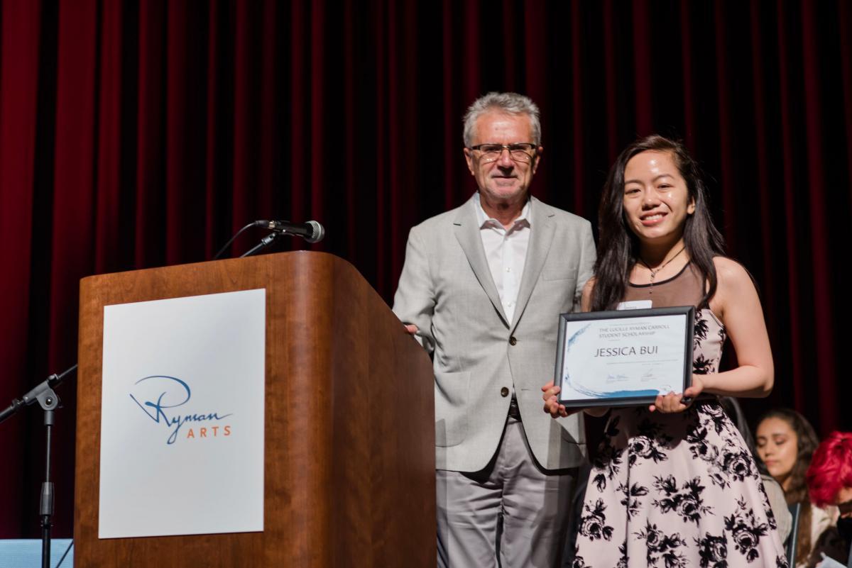 Wayne Hunt with the 2019 Lucille Ryman Carroll Student Scholarship recipient Jessica Bui (Ryman '19)