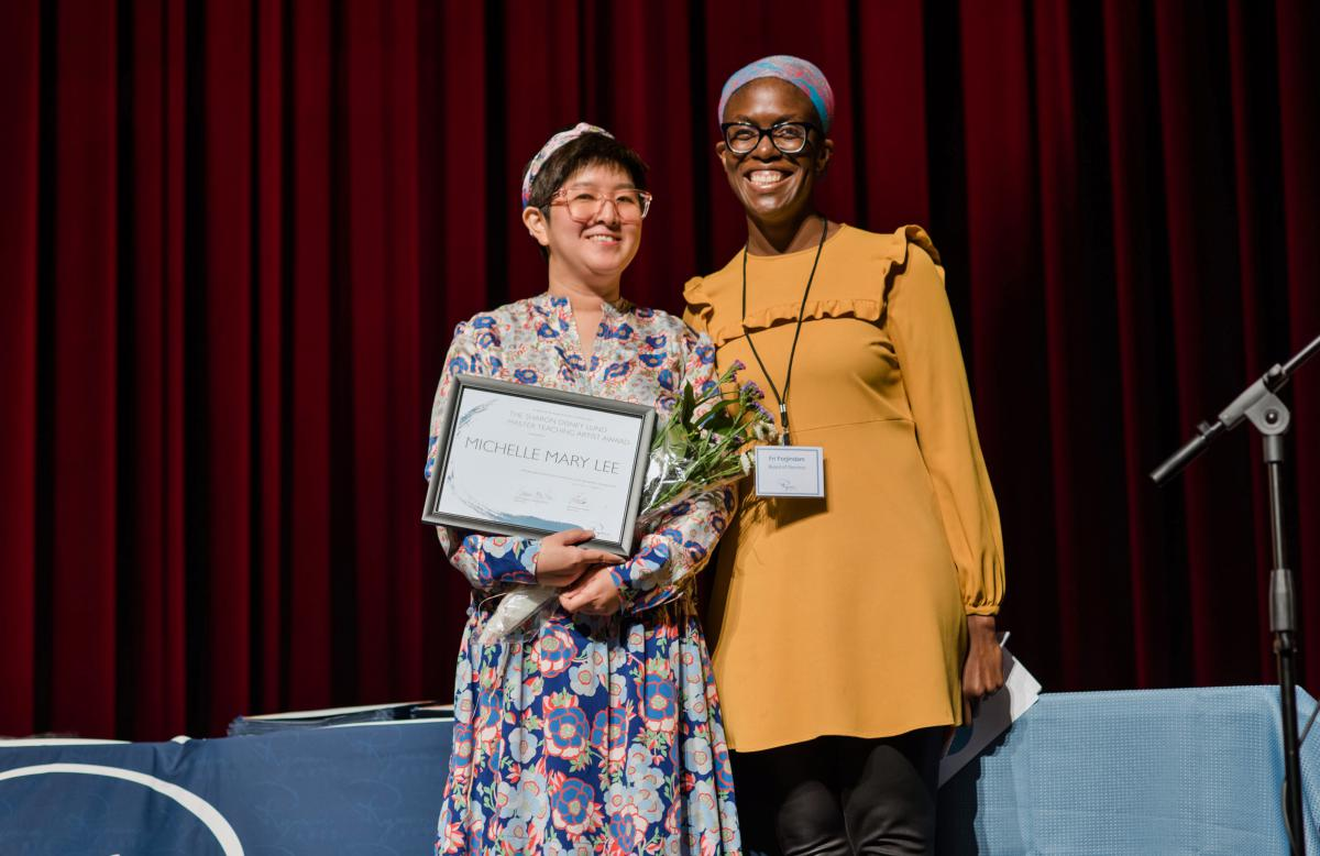 Michelle Mary Lee receives the Sharon Disney Lund Master Teaching Artist Award, presented by Fri Forjindam
