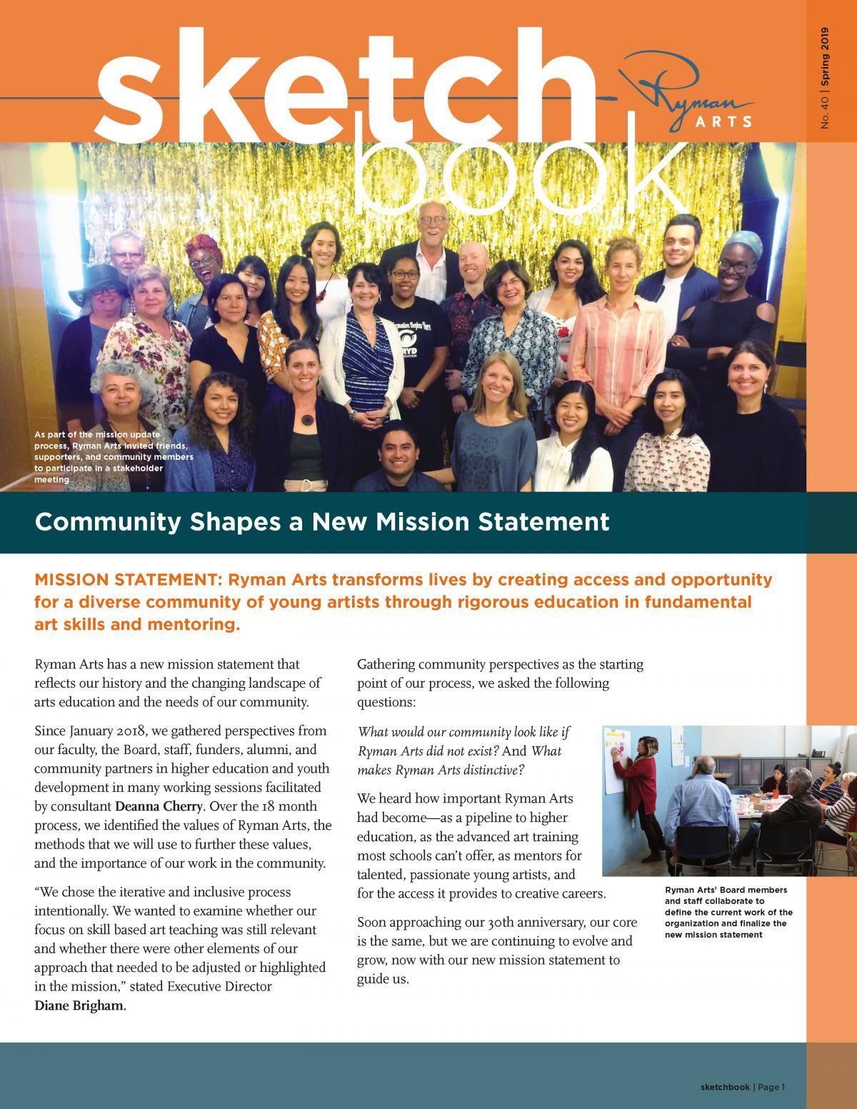 Ryman Arts Sketchbook Number 40, Spring 2019: Community Shapes a New Mission Statement