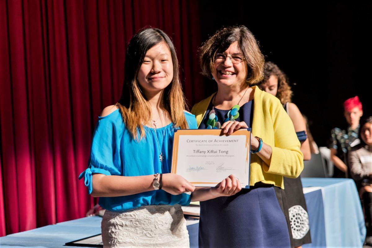 Lucille Ryman Carroll Student Award Tiffany Tong (Ryman '19) and Executive Director Diane Brigham