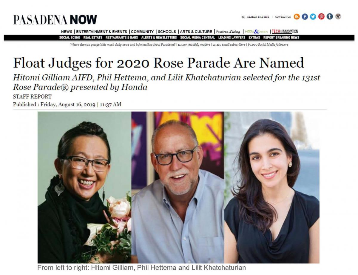 Pasadena Now: Float Judges for 2020 Rose Parade Are Named