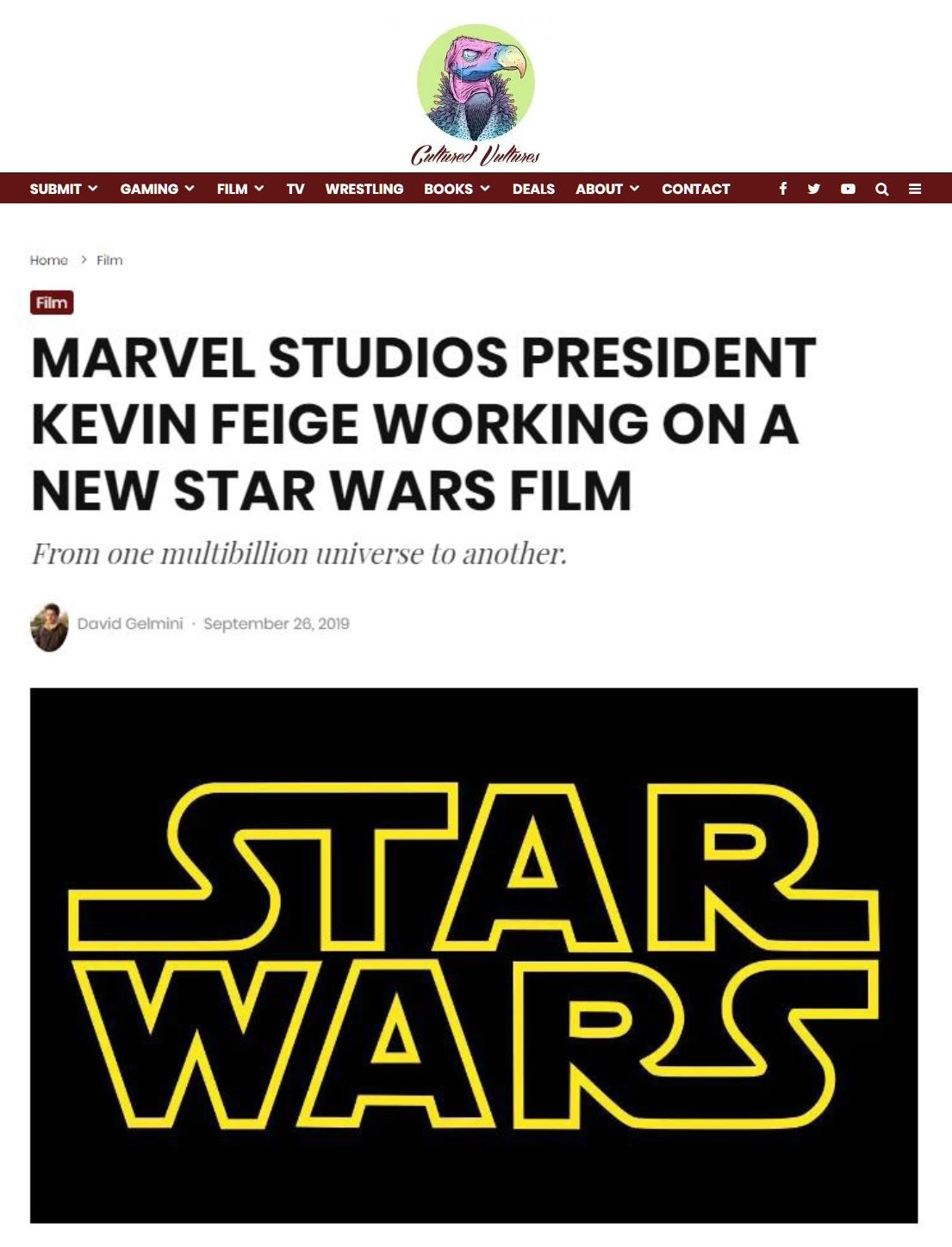 Cultured Vultures: Marvel Studios President Kevin Feige Working on a New Star Wars Film