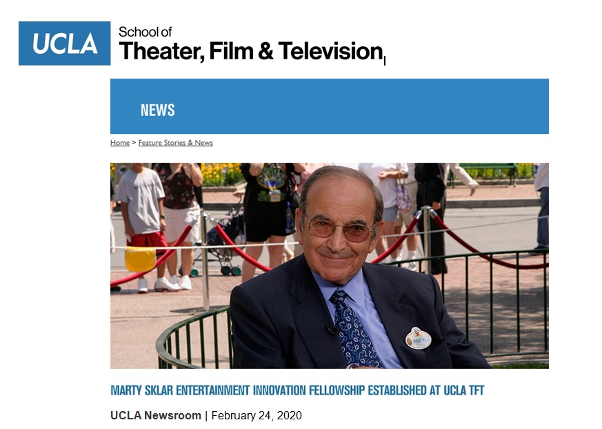 UCLA School of Theater, Film & Television: Marty Sklar Entertainment Innovation Fellowship Established at UCLA TFT