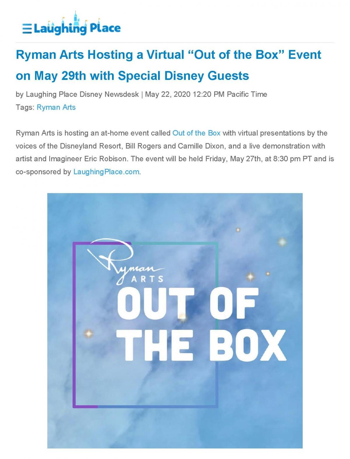 "Laughing Place:  Ryman Arts Hosting a Virtual ""Out of the Box"" Event on May 29th with Special Disney Guests"