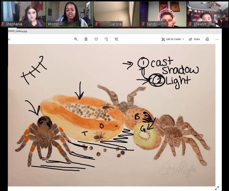 Online homework assignment critique in Master Teaching Artist Kaleeka Bond's class