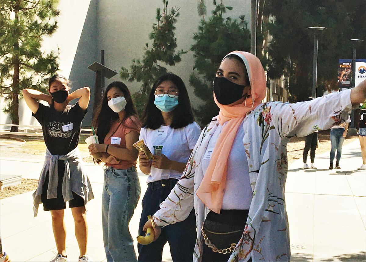 Ryman Arts students cheerfully walking to class at Cal State Fullerton