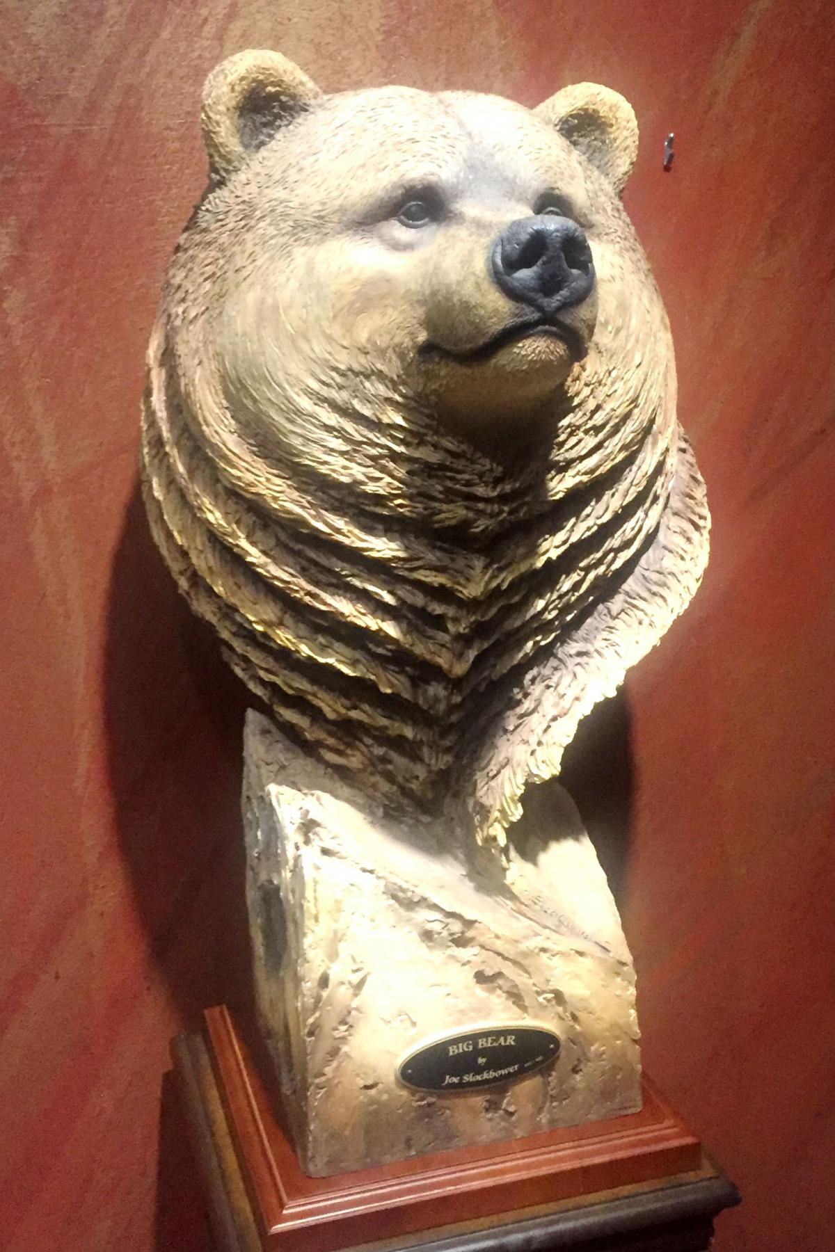 sculpture of a grizzly bear by renowned naturalist sculptor John Slockbower