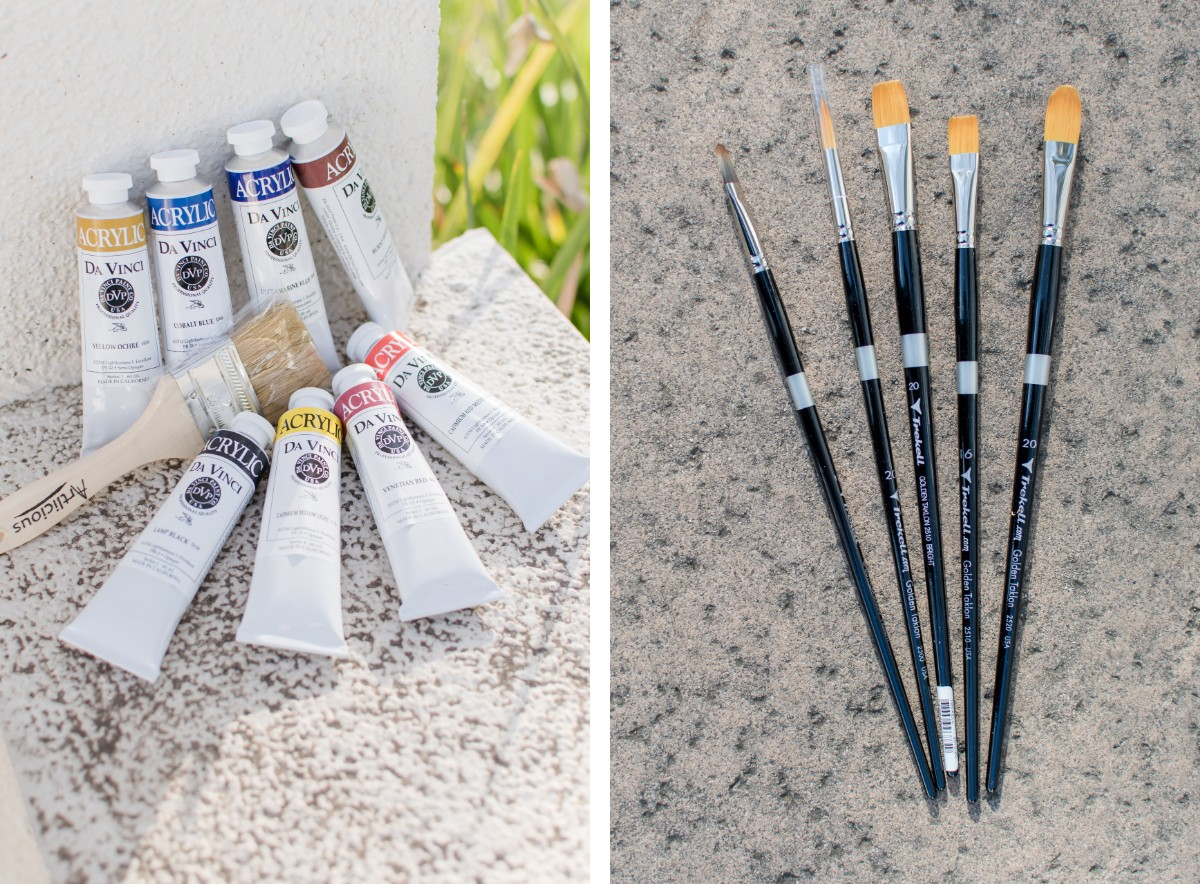Ryman Arts art supplies: acrylic paint and paint brushes