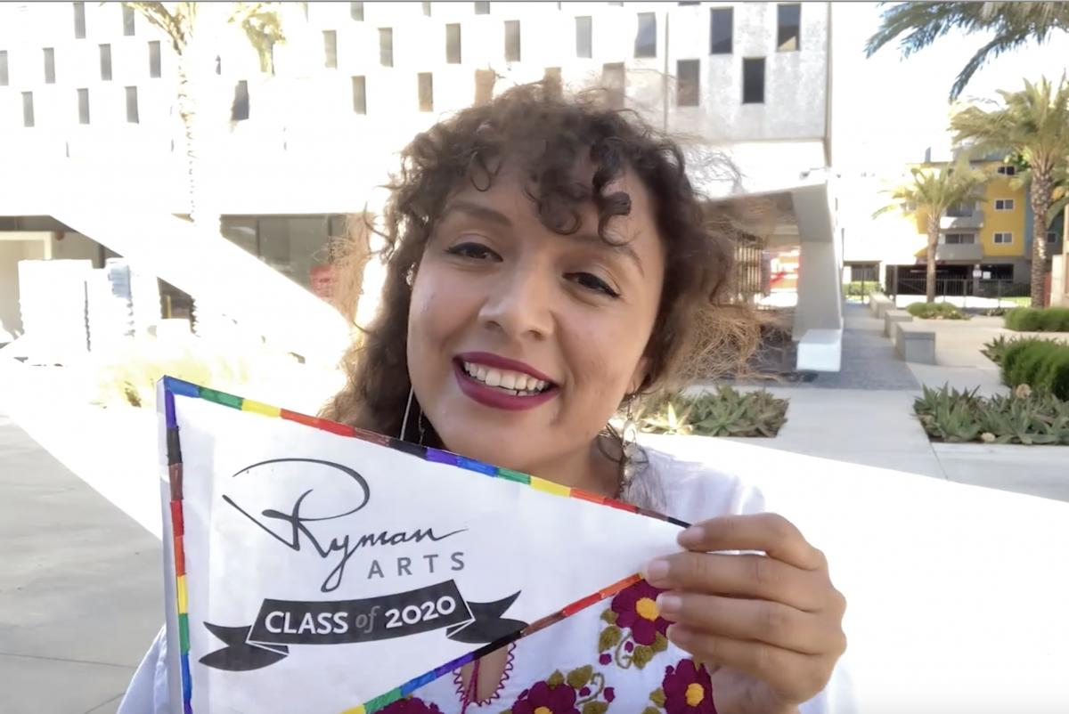 Site and Outreach Coordinator Ana Garcia at Otis College of Art and Design to celebration the 2020 Ryman Arts Graduation ceremony