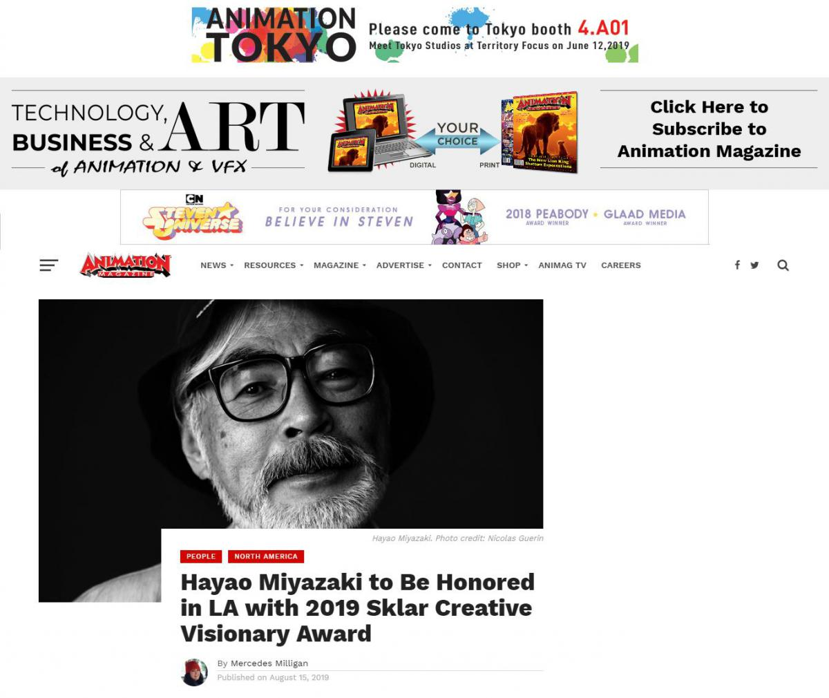 Animation Magazine: Hayao Miyazaki to Be Honored in LA with 2019 Sklar Creative Visionary Award