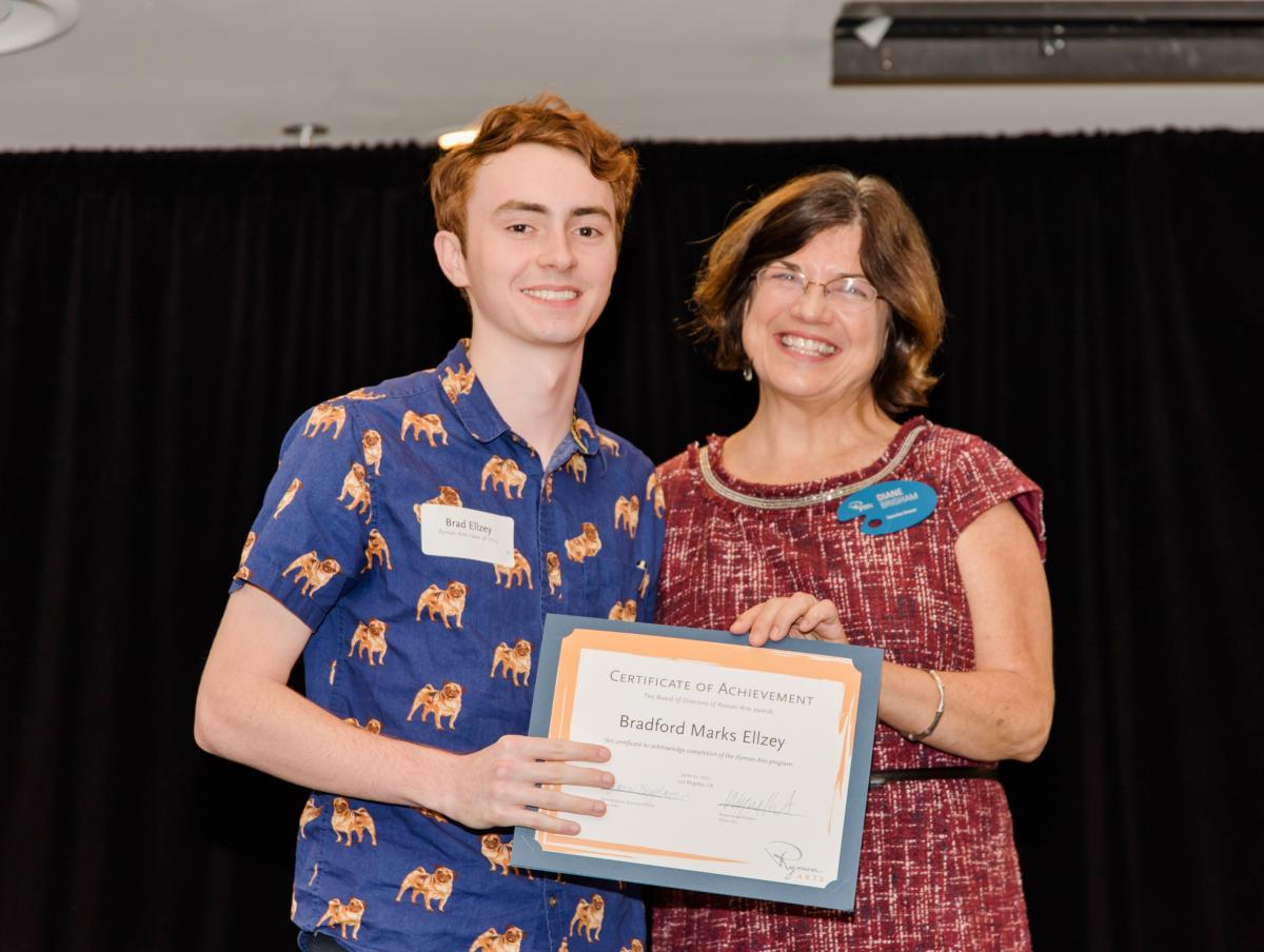 Ryman Arts Scholarship to Otis Summer of Art Brad Ellzey (Ryman '17) and Diane Brigham