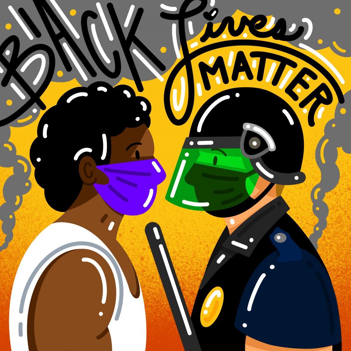 Black lives matter artwork of masked protester confronting police by Bryant Santamaria (Ryman '12)