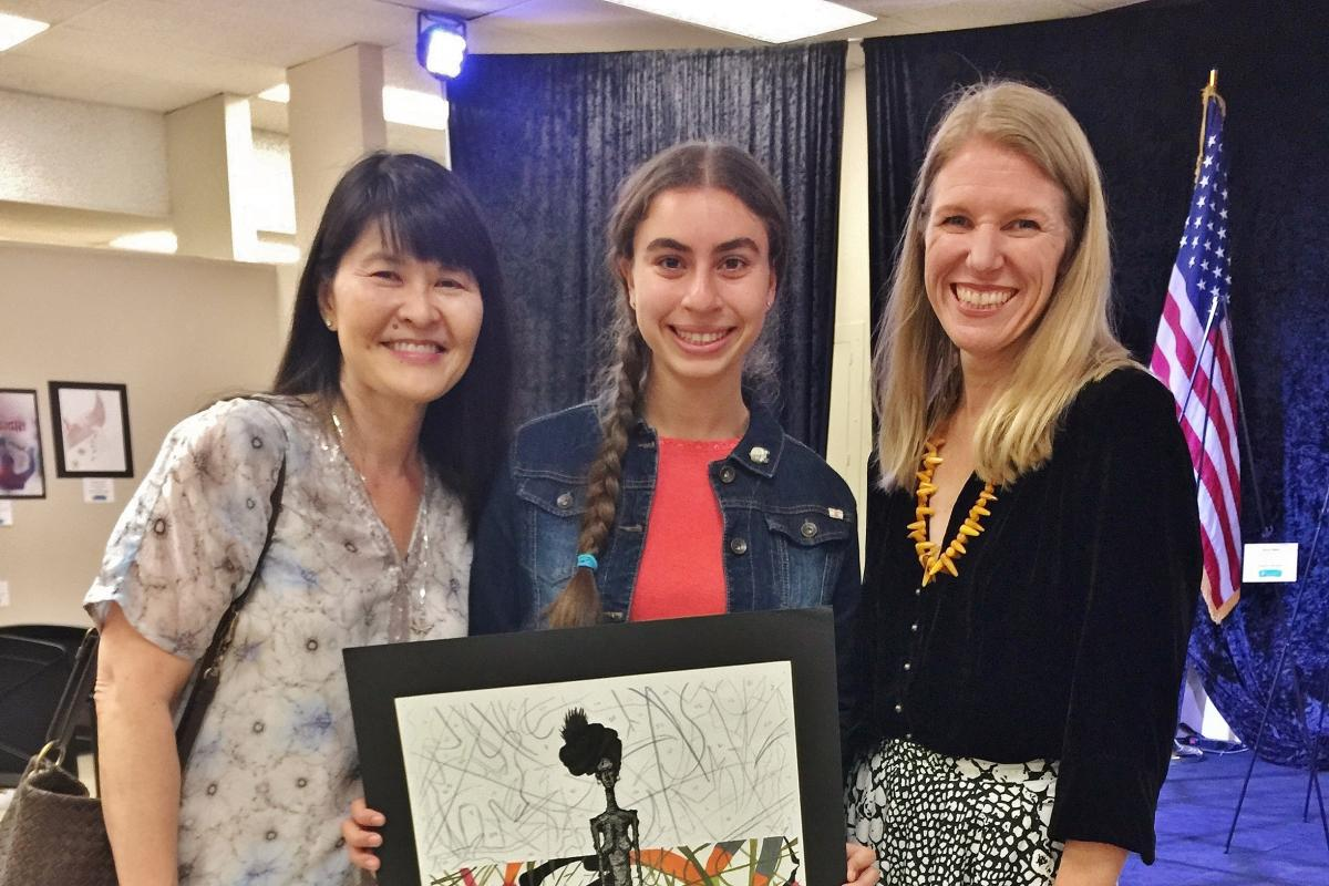 Kristine Hatanaka, Congressional District Art Competition Award Camila Fernandez (Ryman '18), 37th District, Education Manager Rebecca Tuynman (left to right)