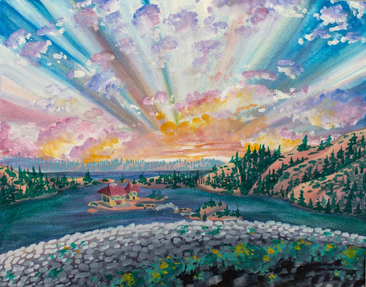 Colorful watercolor landscape artwork of sunrise by Sierra Chavez (Ryman '18)
