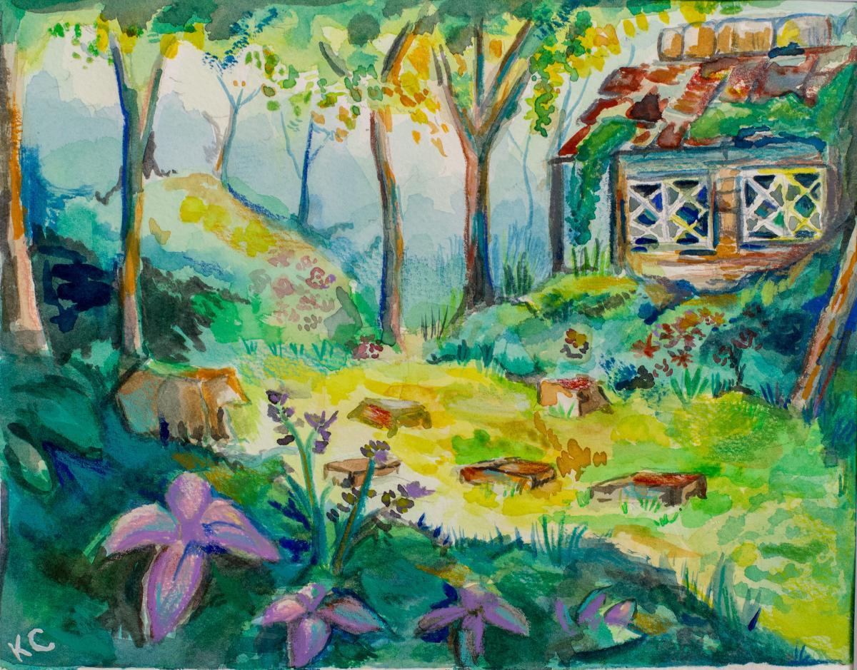 Watercolor landscape artwork of trees and cabin by Katerina Coronado (Ryman '17)