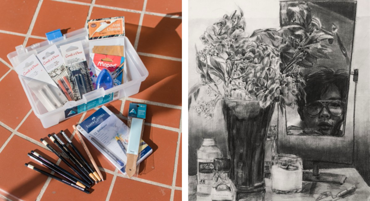 Student Gavin Piedra (Ryman '22) uses various charcoal pencils to create this captivating self-portrait