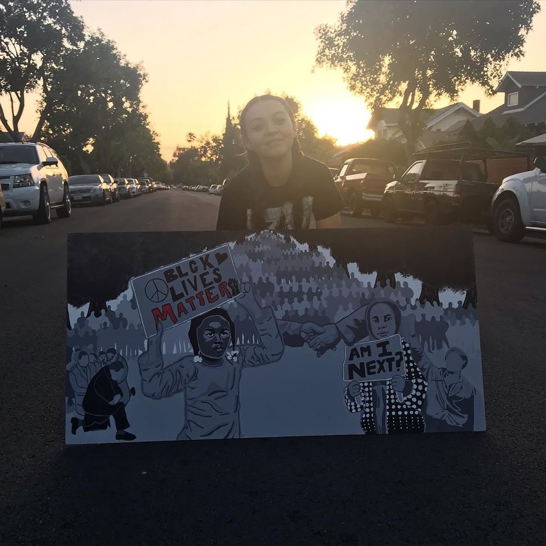 Ryman Arts Drawing Challenge: Artwork by Emily Garcia; Youth at Black lives matter protest