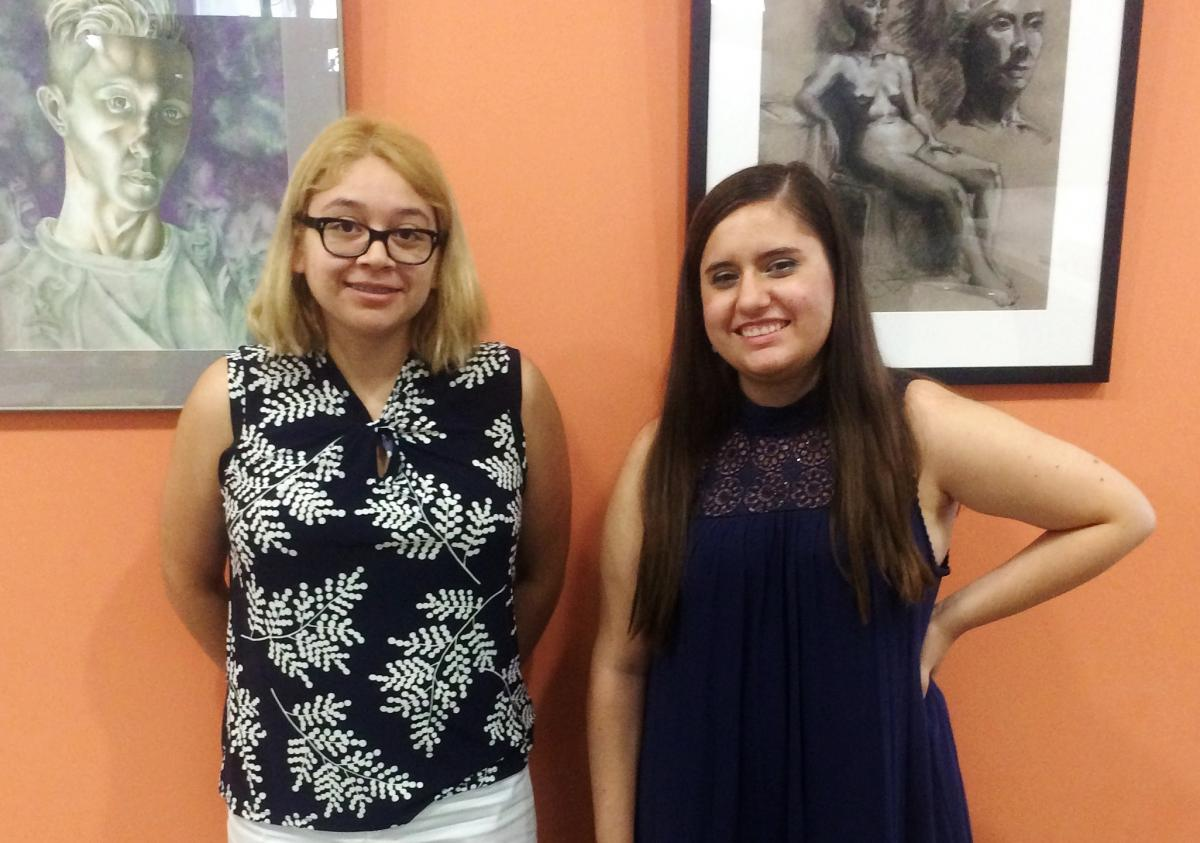 Ryman Arts Getty Marrow Undergraduate Interns Hailey Vasquez (Ryman '16) and Stephanie Petteplace (Ryman '16)