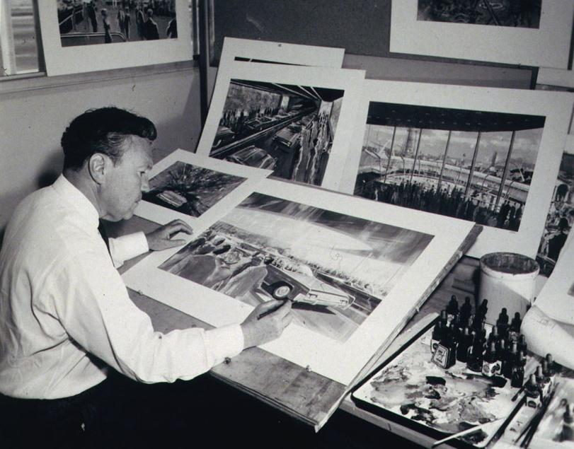 Herb Ryman painting Ford Pavilion, 1964-1965 New York World's Fair