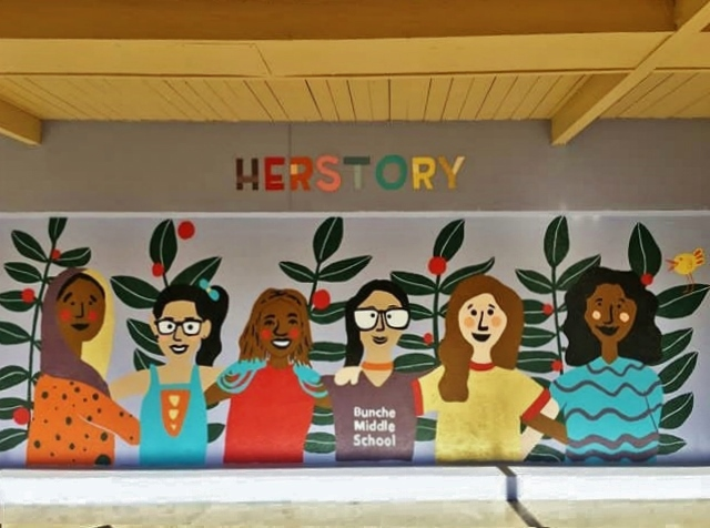 ommissioned by Global GLOW to celebrate International Day of the Girl, the mural demonstrates the importance of female role models and positive representation. Katie and I wanted to make sure we addressed it in this mural through diversity and unity.