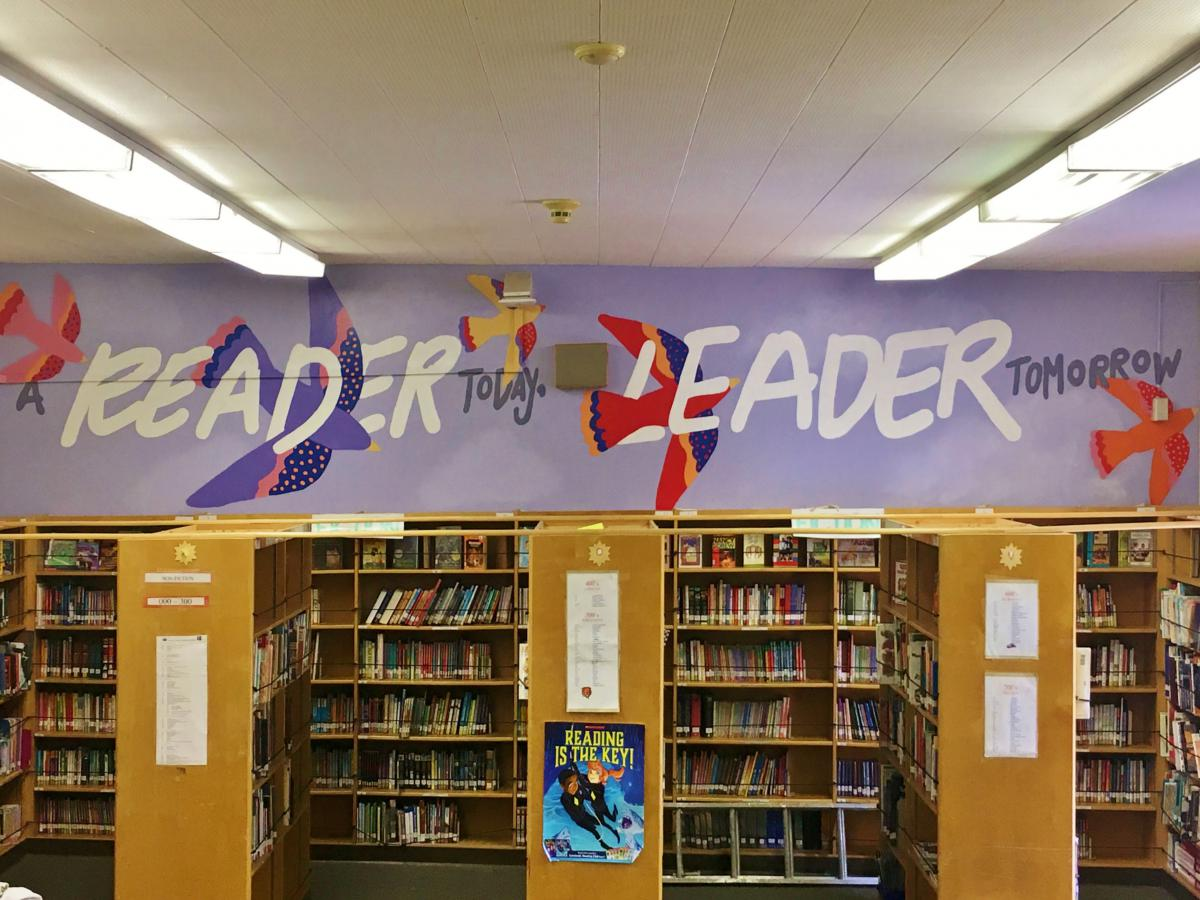 The A Reader Today, Leader Tomorrow mural, commissioned by Wise Readers to Leaders, is located in the library of Garden Grove Elementary School in Reseda. Its aim is to close the literacy achievement gap in low income communities by encouraging students to read.