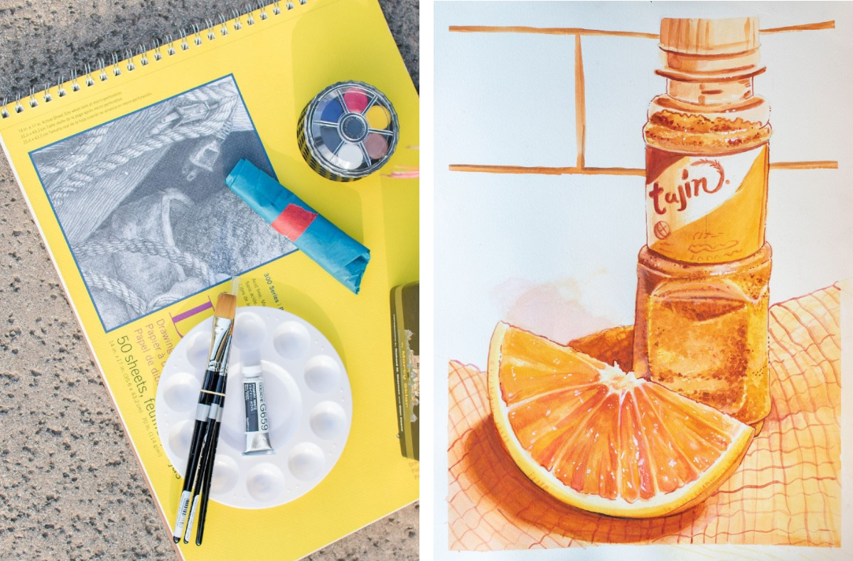 This monochromatic still life is painted by student Genesis Otero (Ryman '20) using watercolor on paper