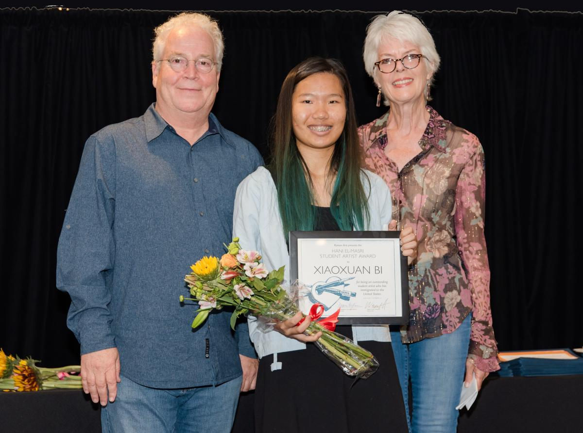 President of Walt Disney Imagineering Bob Weis, Hani El-Masri Student Artist Award XiaoXuan (Ivy) Bi, and Walt Disney Imagineer Julie Svendsen (left to right)