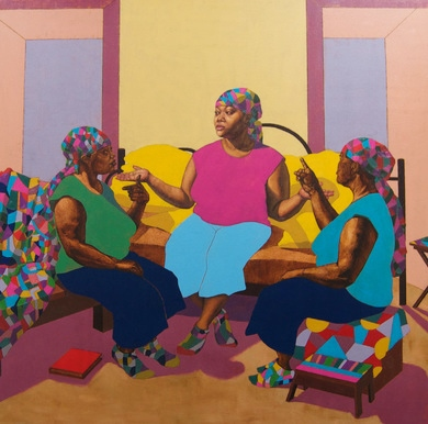 Ryman Arts welcomed Master Teaching Artist Ja'Rie Gray as the newest addition to the Ryman Arts faculty! Ja'Rie's bold and vibrant style is evident in her painting A Conversation with Three of Me.