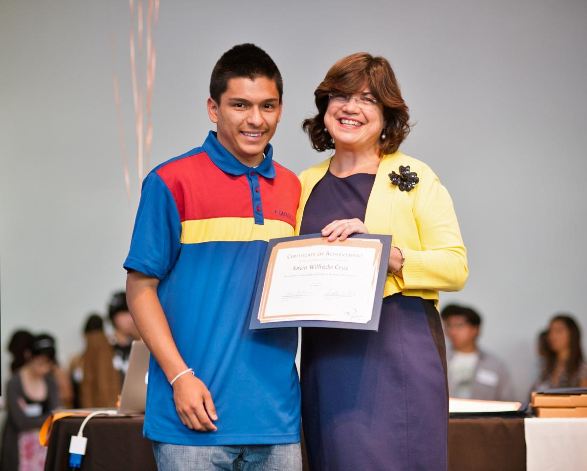 Ryman Arts Scholarship to Idyllwild Arts Summer Program Kevin Cruz (Ryman '13) and Diane Brigham