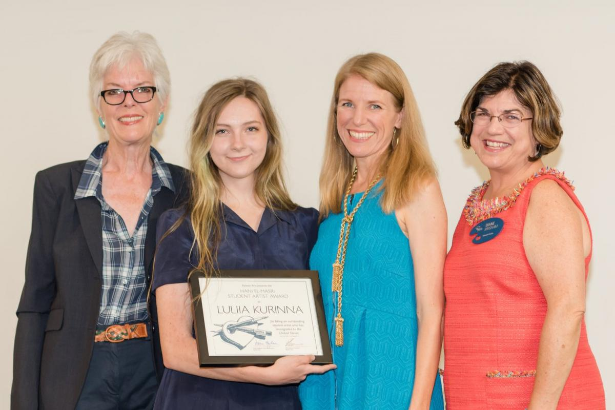 Walt Disney Imagineer Julie Svendsen, Hani El-Masri Student Artist Award Luliia Kurinna (Ryman '17), Rebecca Tuynman, and Executive Director Diane Brigham (left to right)