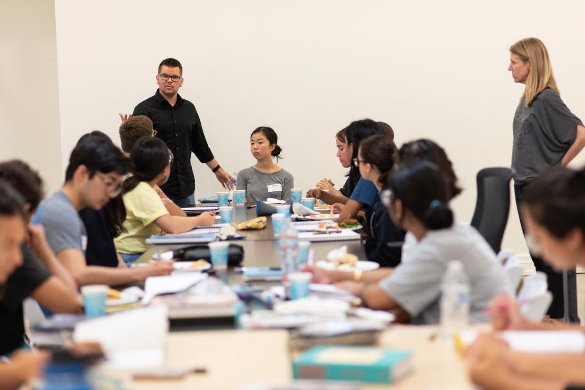 Walt Disney Imagineering Creative Executive Scot Drake helps Ryman Arts alumni and students plan their collaboration