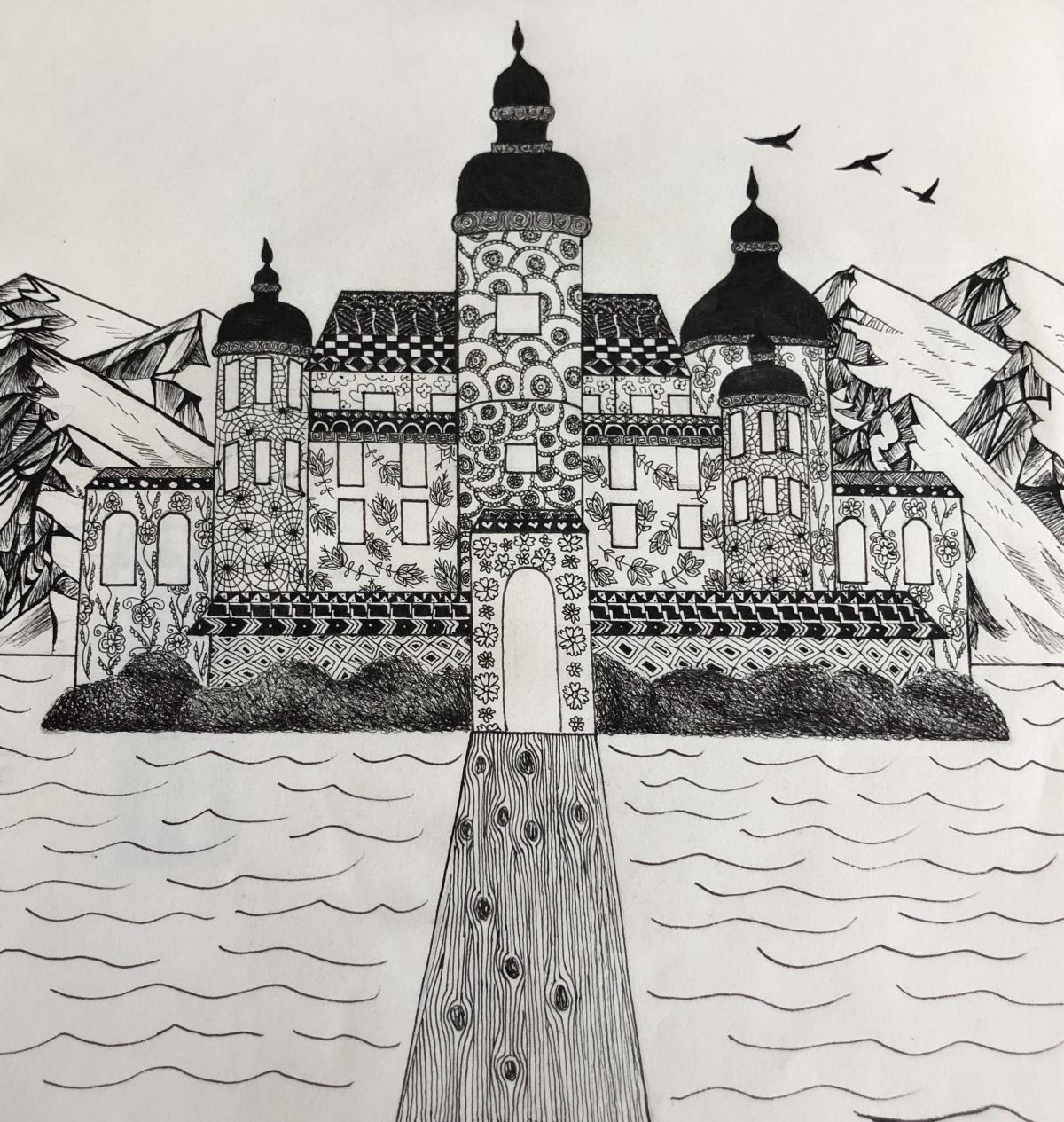 Ryman Arts Drawing Challenge: Artwork by Gabi Osmers; Dream castle
