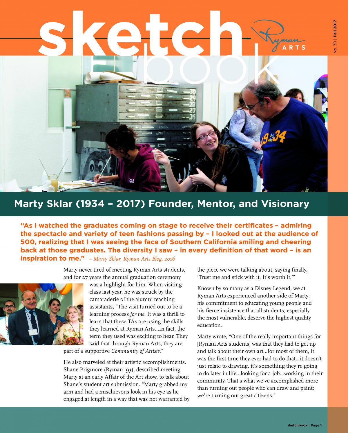 Ryman Arts Sketchbook Number 38, Fall 2017: Marty Sklar (1934-2017) Founder, Mentor, and Visionary