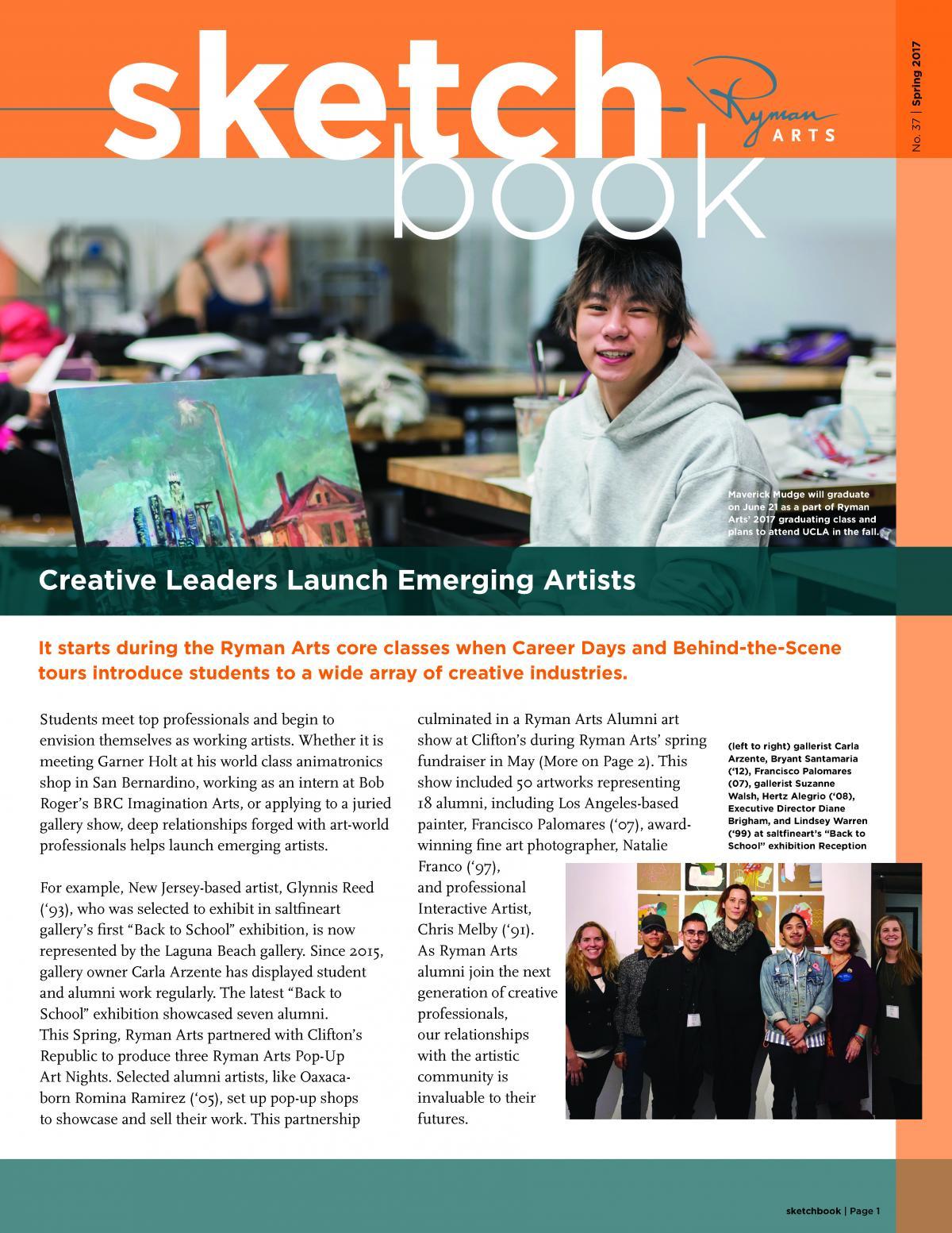 Ryman Arts Sketchbook Number 37, Spring 2017: Creative Leaders Launch Emerging Artists
