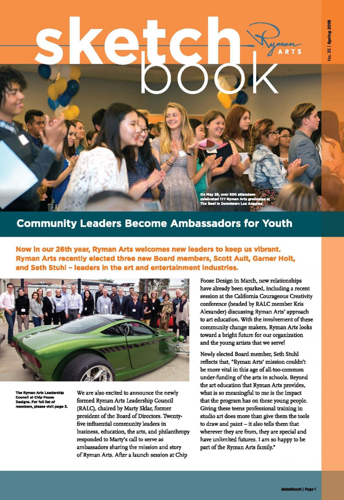 Ryman Arts Sketchbook Number 35, Spring 2016: Community Leaders Become Ambassadors for Youth