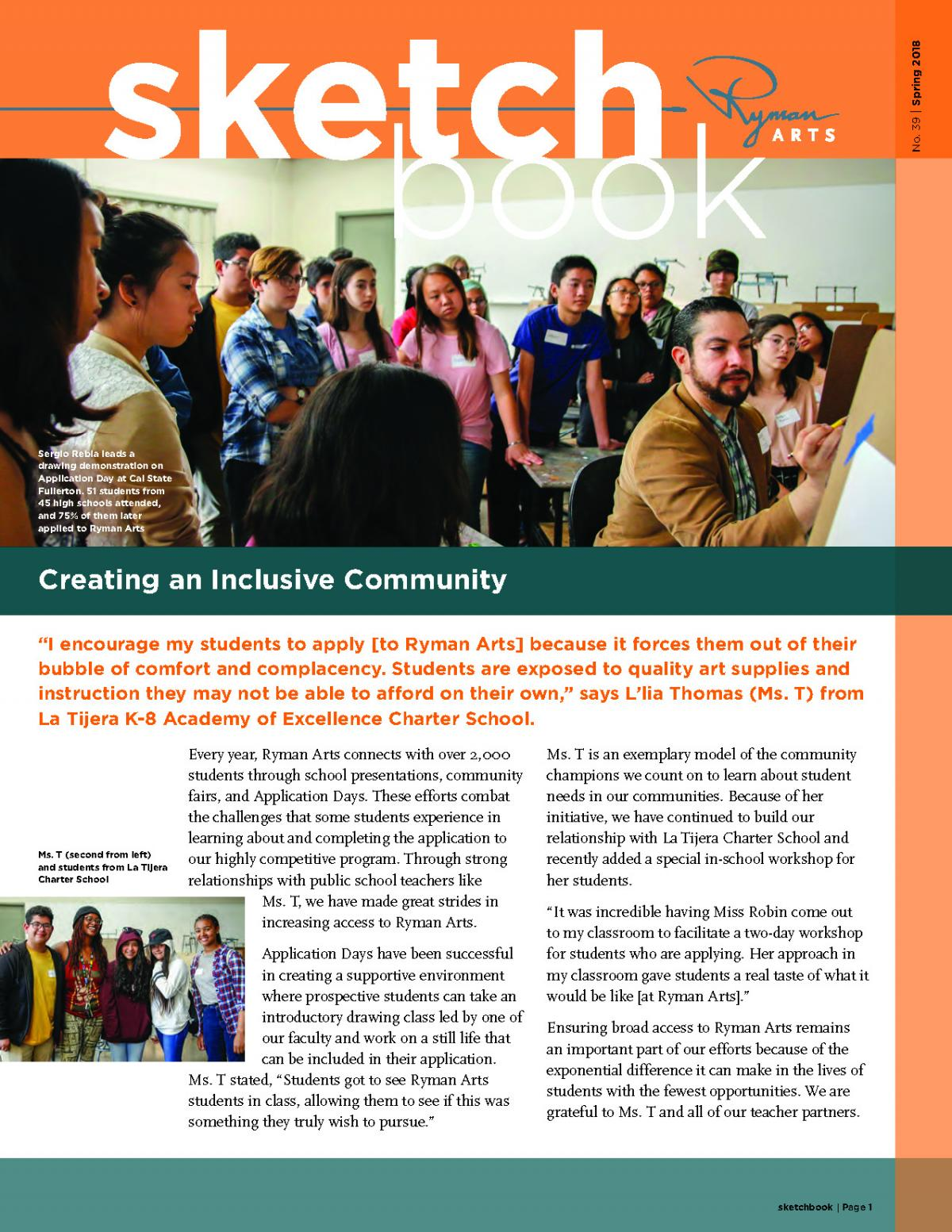 Ryman Arts Sketchbook Number 39, Spring 2018: Creating an Inclusive Community
