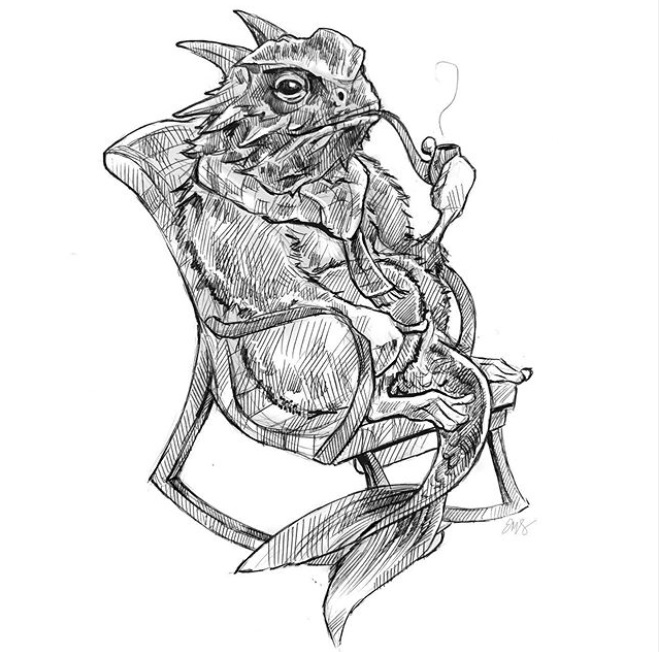 Ryman Arts Drawing Challenge: Artwork by Eugenia Sangiovanni; Hybrid monster, horned toad-lemur-fish, smoking a pipe