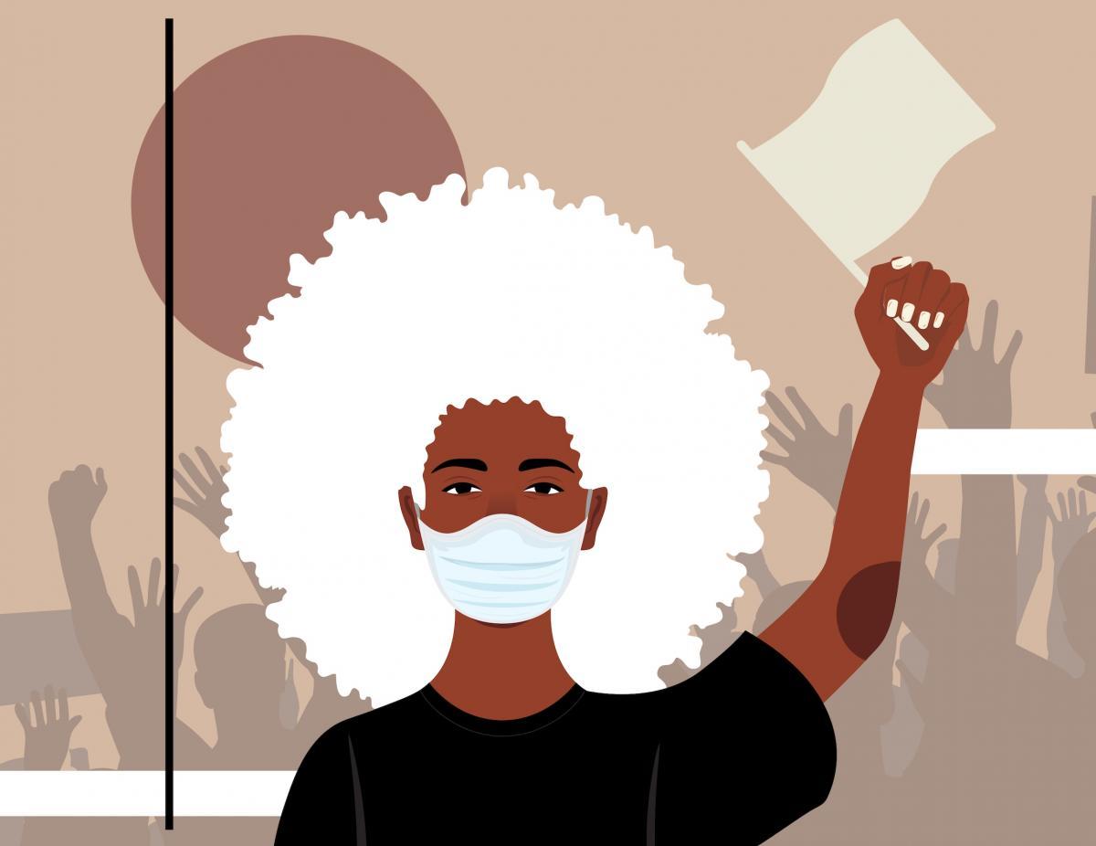 Black lives matter artwork of masked Black woman protester by Domonique Brown (Ryman '11)