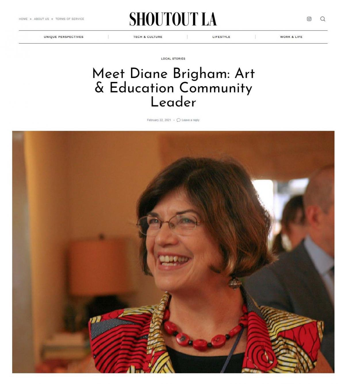 Shout Out LA: Meet Diane Brigham: Art & Education Community Leader