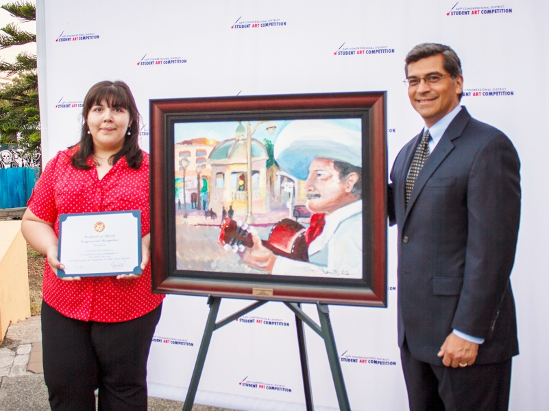 Congressional District Art Competition Award Stephanie Varela (Ryman '12), 34th District, and Congress Member Xavier Becerra