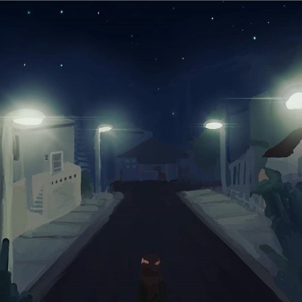 Ryman Arts Drawing Challenge: Artwork by milk_mintt; Girl walking down dark street